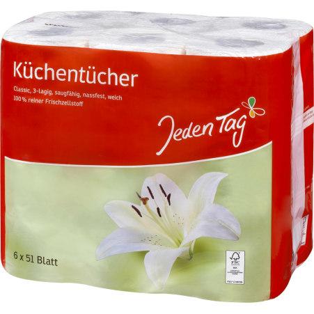 Jeden Tag Küchentücher 6x 51 Blatt 3-lagig