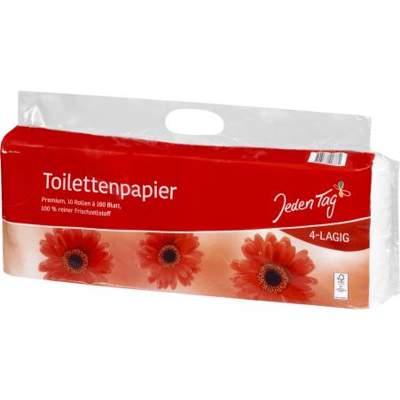 Jeden Tag Toilettenpapier 10x 160 Blatt 4-lagig