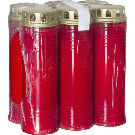 ***** Wochenbrenner rot mit Deckel 6er-Packung