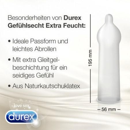 Durex Gefühlsecht Kondome Extra Feucht 10er-Packung
