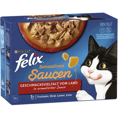 PURINA Felix Sensations Saucen mit Fleisch-Geflügel 12x 85 gr
