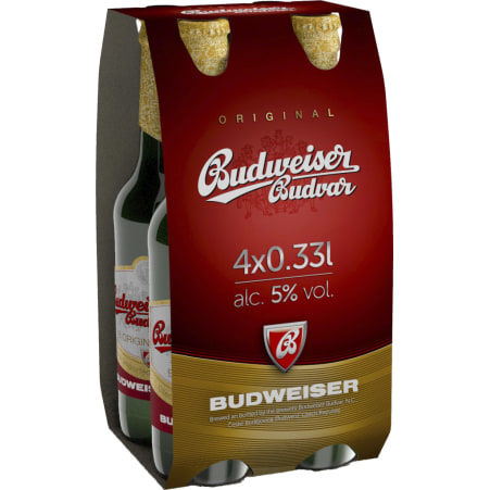 Budweiser Budvar Bier Original Tray 4x 0,33 Liter Einweg-Flasche