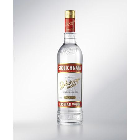 Stolichnaya Roter Vodka 40% mit 2 Bechern