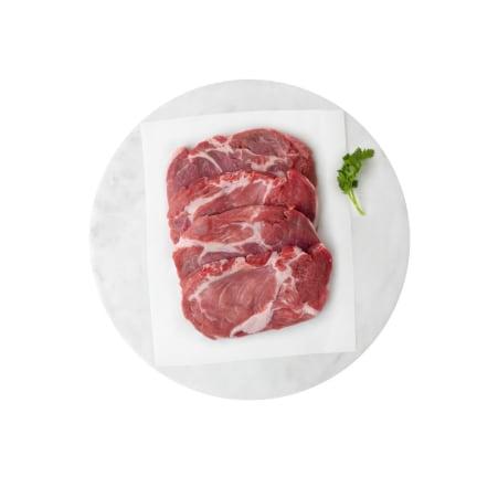 Alpenmetzgerei Schopfsteak vom Schwein geschnitten