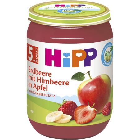 HiPP Erdbeere mit Himbeere in Apfel 4. Monat