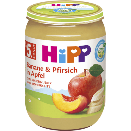 HiPP Banane-Pfirsich in Apfel 4. Monat