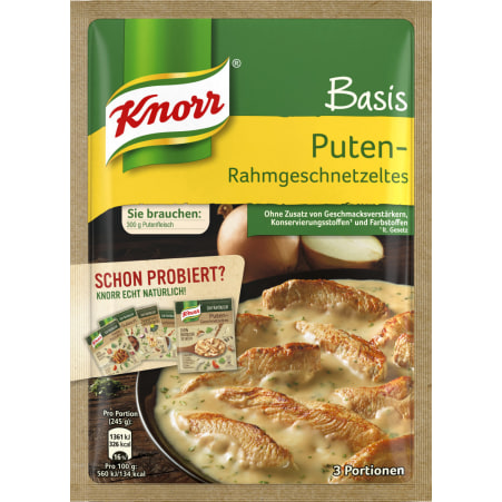 Knorr Basis Puten-Rahmgeschnetzeltes