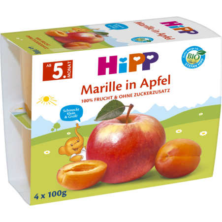 HiPP Fruchtpause Marille in Apfel 4. Monat 4er-Packung