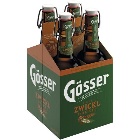 Gösser Stifts Zwickl Dunkel Tray 4x 0,5 Liter Mehrweg-Flasche
