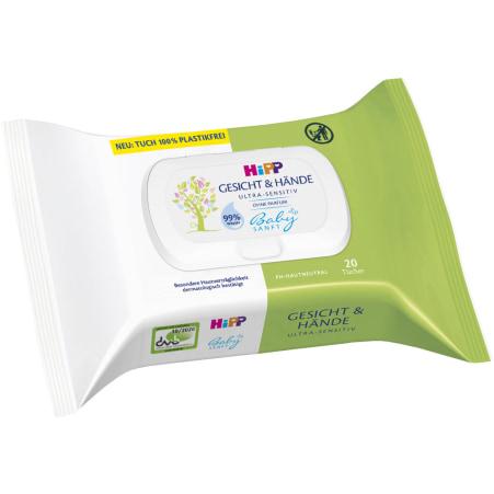 HiPP Babysanft Gesicht & Hände Tücher 20er-Packung