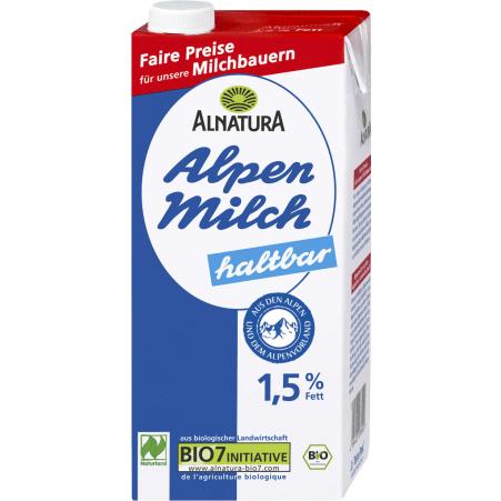 Alnatura Bio Haltbare fettarme Alpenmilch 1,5%