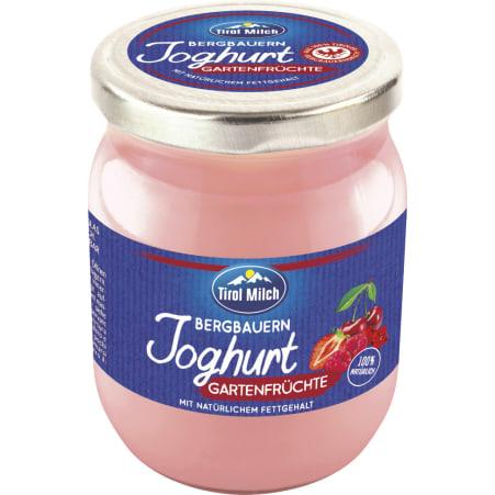 Tirol Milch Bergbauern Joghurt Gartenfrüchte Glas