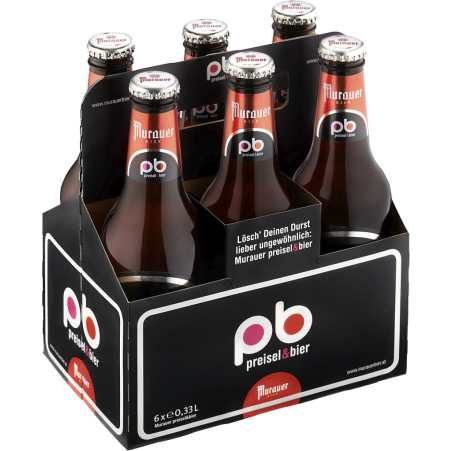 Murauer Preisel & Bier Tray 6x 0,33 Liter Einweg-Flasche