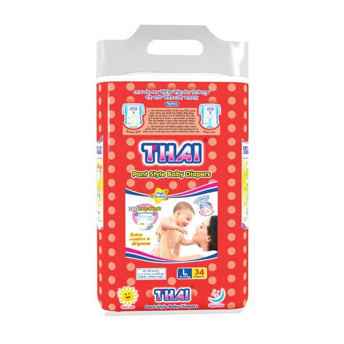 Thai Baby Diapers (Pant Style) L (4-8 kg) 34pcs