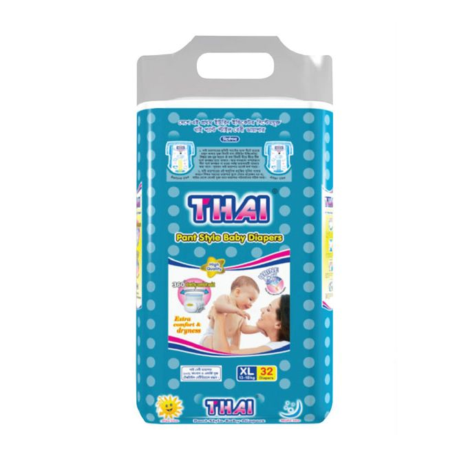 Thai Baby Diapers (Pant Style) XL (13-18 kg) 32 pcs