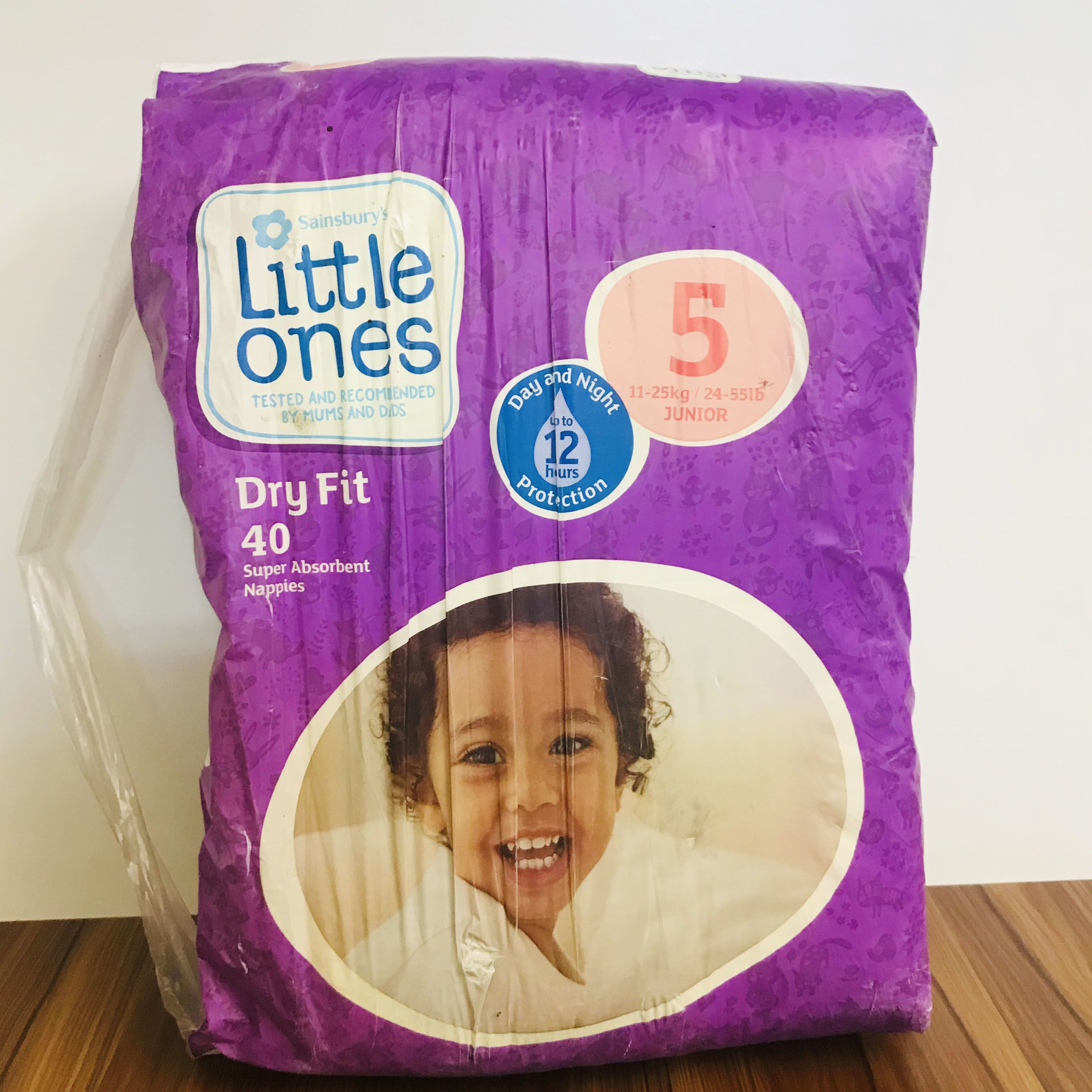 Sainsbury's Little Ones Dry Fit Size 5 Junior 40 Nappies
