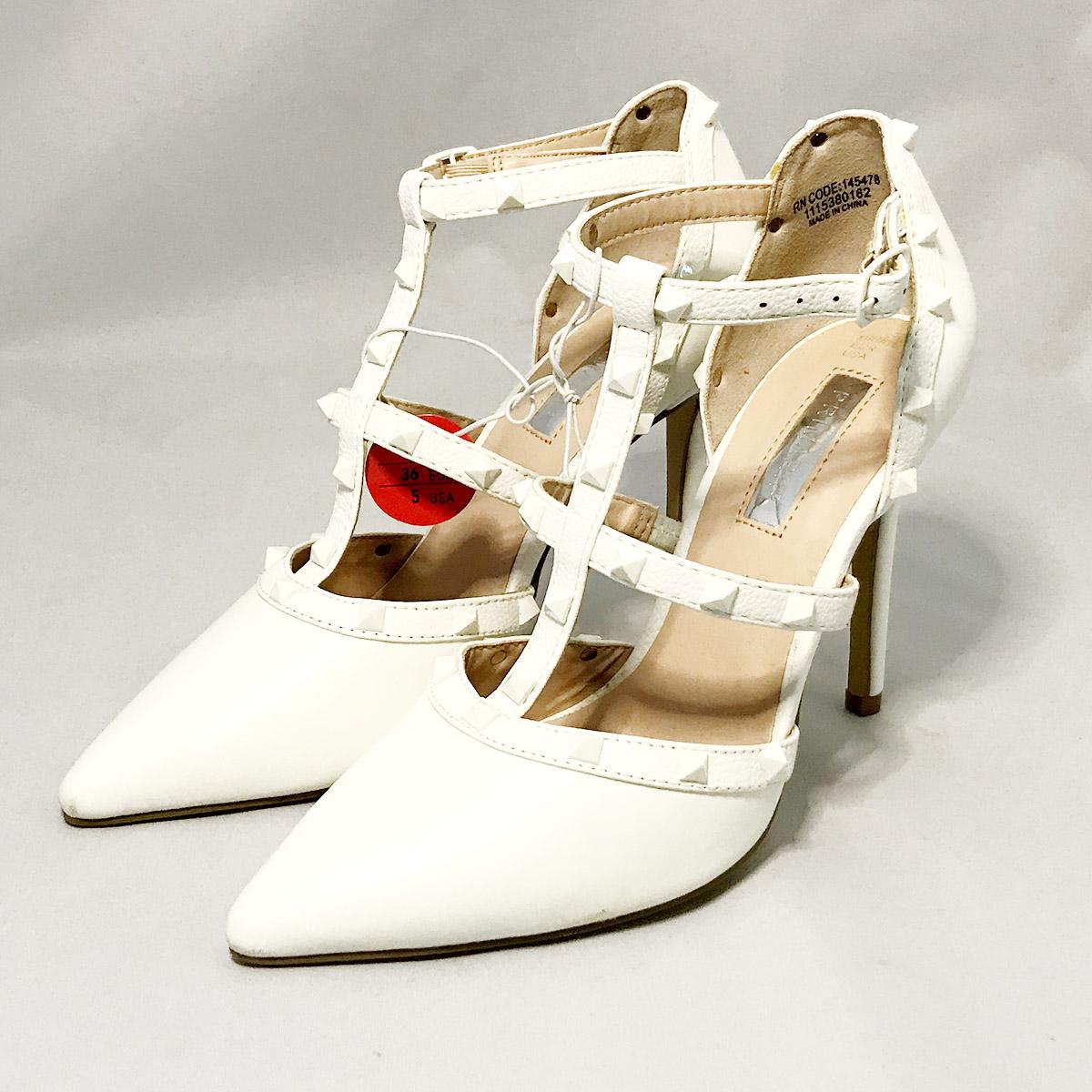 Primark White T-Bar Stiletto Heel Shoe