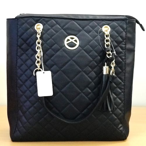Primark Black Quilted Shopper Tote Shoulder Bag