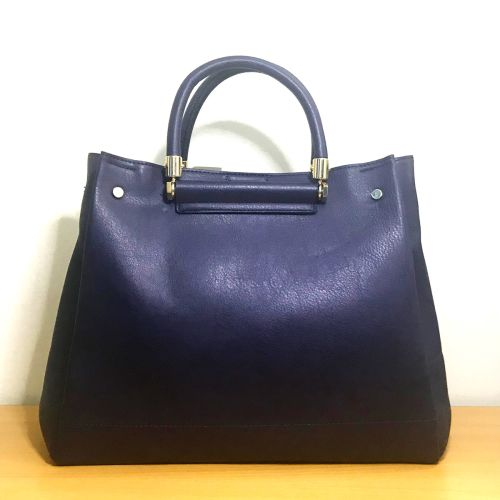 Accessorize Olivia Tote Bag Navy and Dark Purple with Shoulder Strap