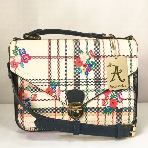 Accessorize Classic Pattern Cross Body Bag with Adjustable strap.