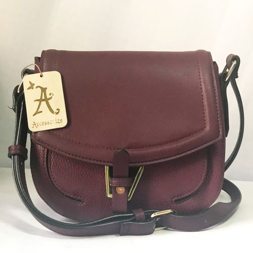 Accessorize Maroon Cross Body Saddle Bag with Adjustable strap.