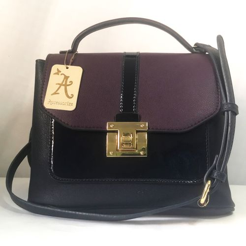 Accessorize Maroon+Black Cross Body Bag with Adjustable strap.