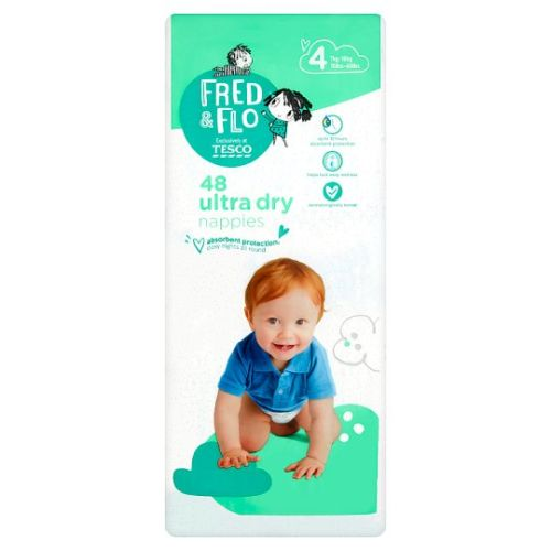 Tesco Fred And Flo Ultra Dry Size 4 Nappies 48 Pack