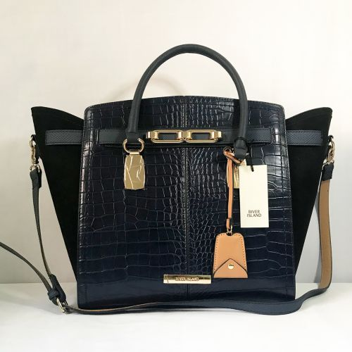 River Island Croc Panel Detailed Black Tote Bag with Shoulder Strap