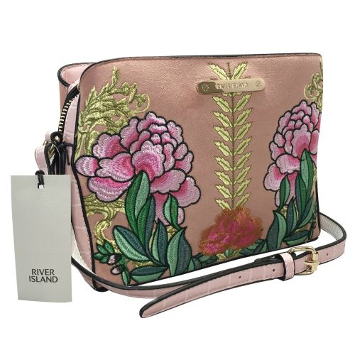 River Island Pink embroidered  Body Strap Bag