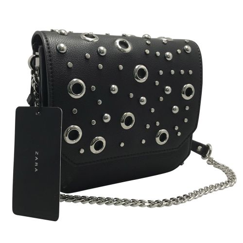 Zara Black Chain Strap Flap Shoulder Bag