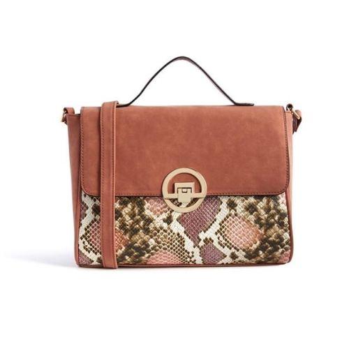 Primark Brown & Snack Pattern Satchels Bag with Shoulder Strap