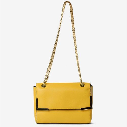 Dorothy Perkin Mustard Metal Corner Cross Body Bag with Shoulder Strap