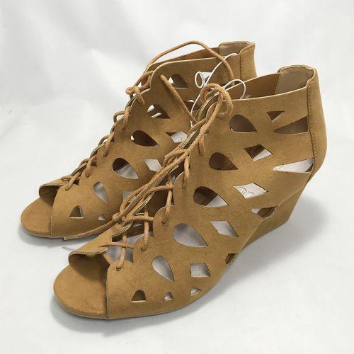 Primark Lace Up Block Heel Peep Toe Sandal