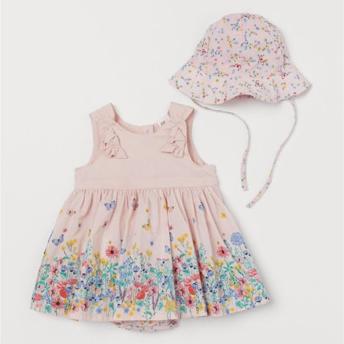 H&M Light Pink Dress & Sun Hat