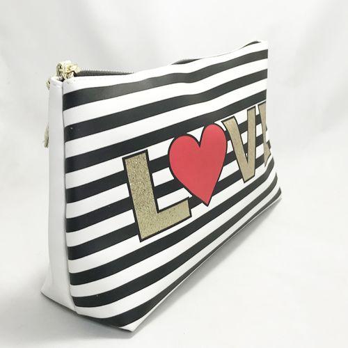 Primark Love Black & White Strip Hand Bag