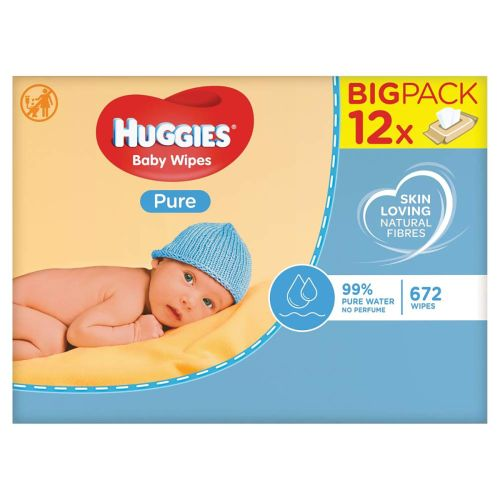 Huggies Pure Baby Wipes ,12 x 56 pack = 672 wipes