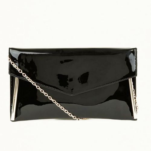 New Look Black Metal Trim Chain Strap Clutch Bag