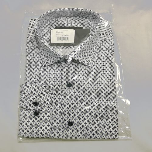 Quiz Man White & Blue Printed Shirt