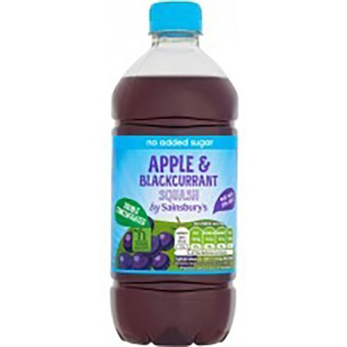 SAINSBURYS DOUBLE STRENGTH APPLE AND BLACKCURRANT SQUASH NO ADDED SUGAR 750ML