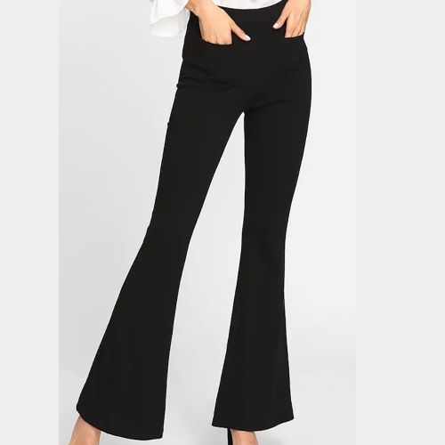 SHEIN Patch Pocket Front Flared Trousers