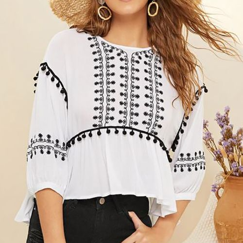 Shein Tie Neck Tribal Embridered Crepe Top