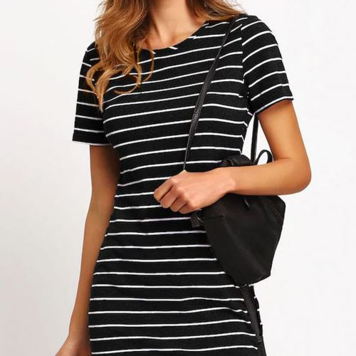 SHEIN Striped Fitted T-shirt Dress