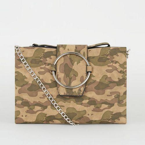 New Look Green Camo Ring Front Shoulder Bag