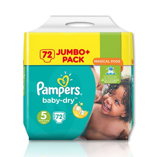 Pampers Baby Dry Jumbo+ Pack Size 5 Junior (72pk)