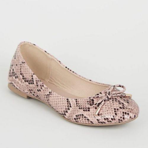 New Look Pink Faux Snake Bow Ballet Pumps