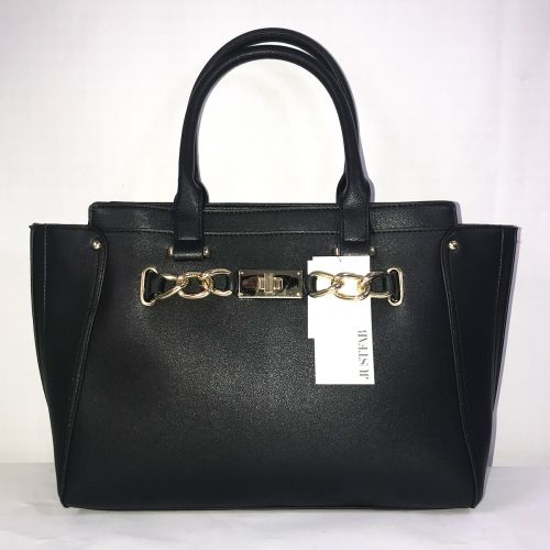 Just Fab Black Large Compartment Hand Bag  with Shoulder Strap
