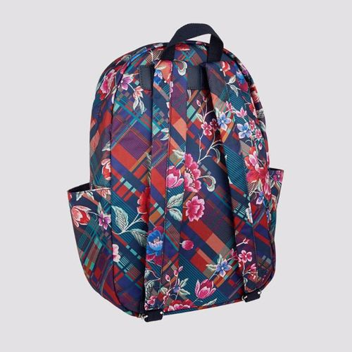 Accessorize Blue & Red Florafona With Check Printed School Bag