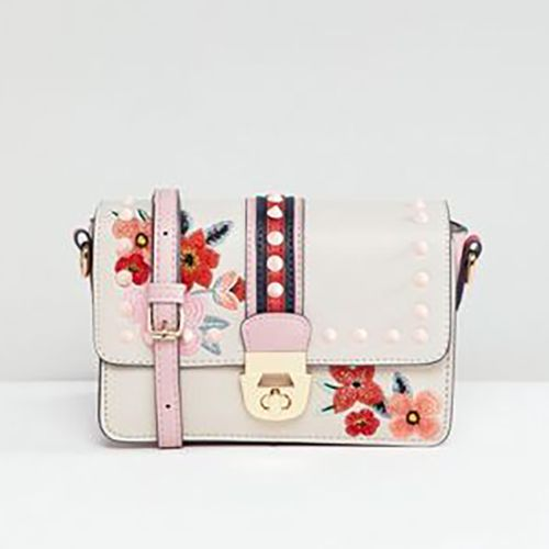 Accessorize Embroidered Studded Cross Body Side Bag with Strap