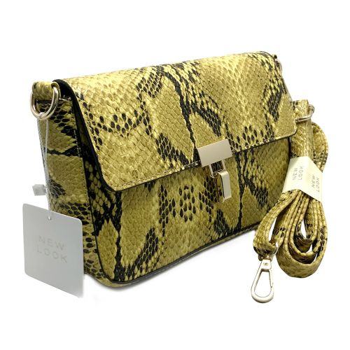 New Look Mustard Faux Snake Cross Body Bag with Shoulder Strap