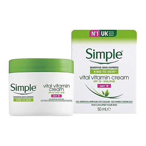Simple Vital Vitamin Day Cream Moisturizer With Sunscreen SPF 15 (Suitable For Sensitive Skin) 50ml